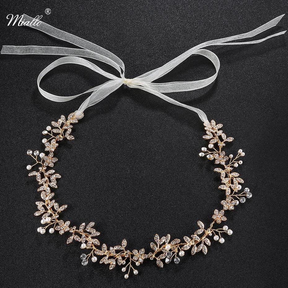 Miallo Fashion Handmade Headband Clear Crystal Flower Leaves Wedding Women Hair Vine Jewelry Princess Tiaras and Crowns HS-J4181