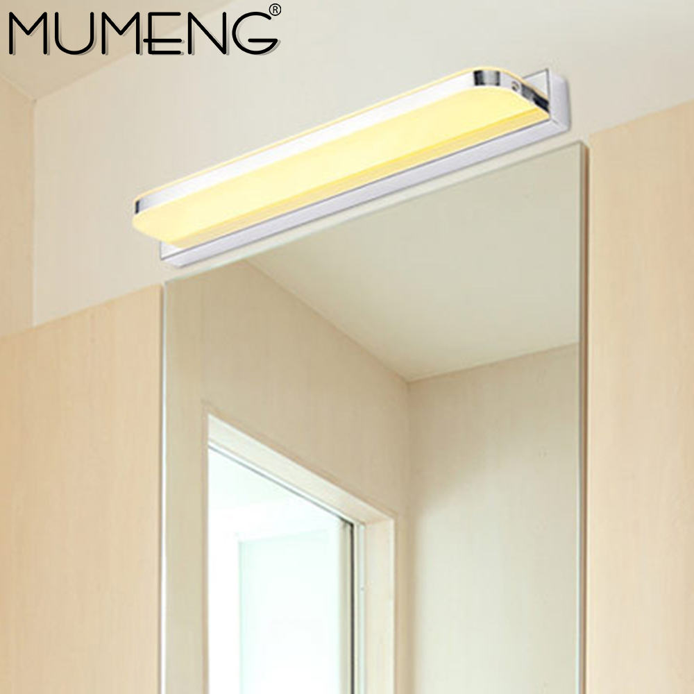 Modern led Mirror Light 7W Bathroom Wall Lamp 42cm Minimalist Bedroom Wandlamp Acrylic Stainless steel Home Decor Fixtures in LED Indoor Wall Lamps from Lights Lighting