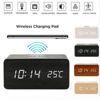New Hot Modern Wooden Wood Digital LED Desk Alarm Clock Thermometer Qi Wireless Charger Home Office SMD66