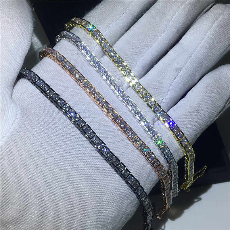 Vecalon 4 colors Tennis Bracelet Princess cut Cubic Zirconia White gold filled Party wedding Bracelets for women men Jewelry