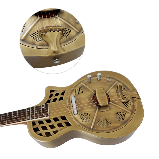 Aiersi Brand Vintage distressed golden finish Electric Parlour Resonator Guitar Free Guitar Case and Strap 1