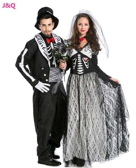 New Luxury Halloween Lovers Costumes Europe Male And Female Vampire Cosplay Zombie  Costumes Sexy Ghost Bride Disfraces H1571437