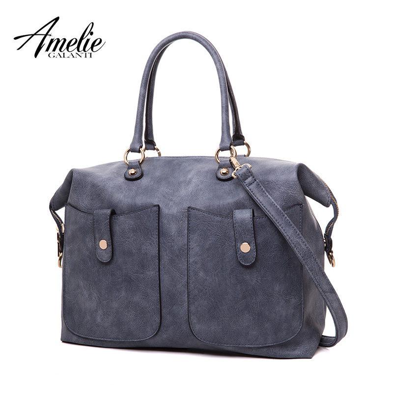 AMELIE GALANTI Women Handbag Large Simply Style Multi-Pocket Shoulder Bag for Women Classical Messenger Bag amelie galanti brand tote handbag