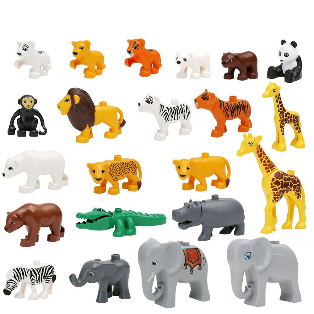 10PCS A SET Cheaper Duplo Animal Building Blocks  Ocean Forest Farm Animal Models Duplo Figures toys Compatible  цены