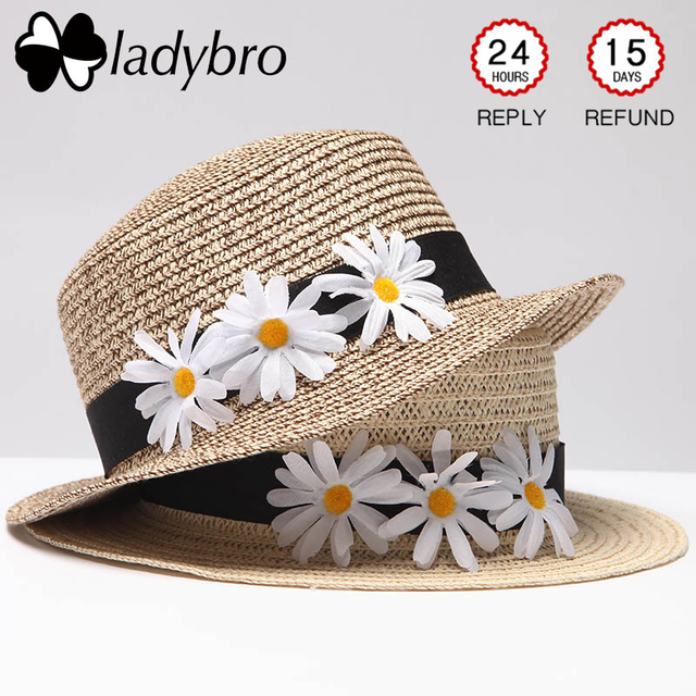 Ladybro Women Boater Beach Sun Hat Cap Female Floppy Summer Straw Hat Daisy  Flat Hat Ladies Headwear Flower Travel Cap Fedora c35e731d9455