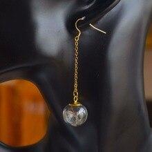 Dandelion Seed Real flower in the glass ball dangling Handmade earrings good luck gift for her