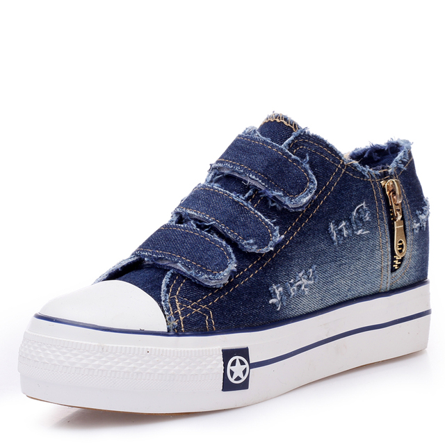 High Quallity Denim Canvas Shoes New Fashion 2017 Women 's Vulcanize Shoes Casual Breathable Shoes Footwear Spring Autumn D197