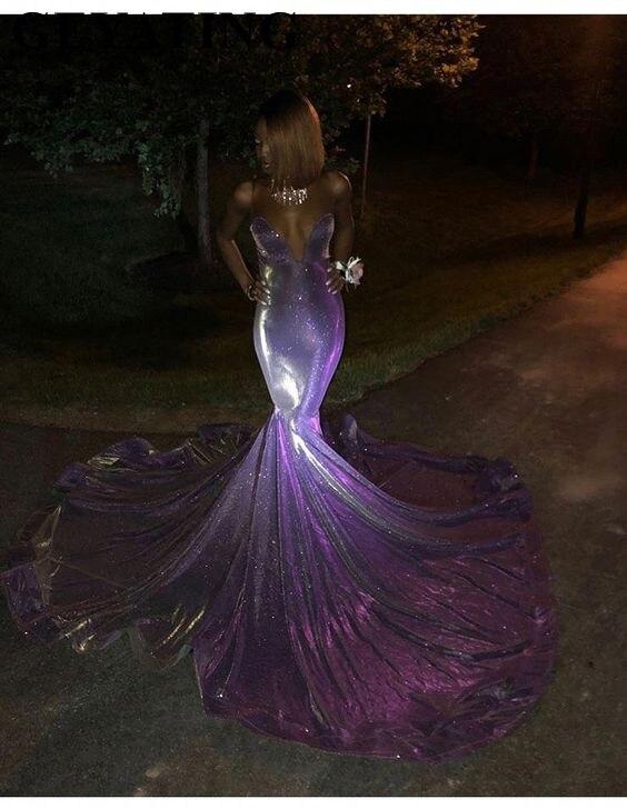 Glitter Long Mermaid Black Girl Prom Dresses 2019 Off Shoulder Sweetheart Court Train Purple Sequin African Evening Formal Dress