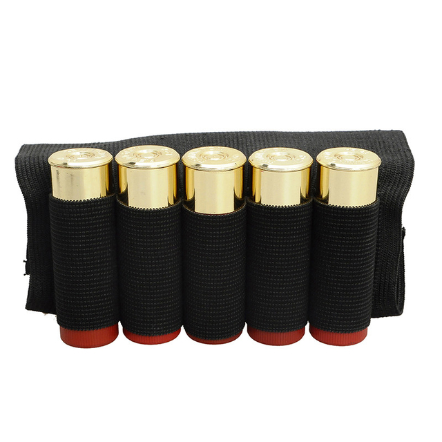 Airsoft Rifle Hunting Tactical Shotgun Pouches 5 Butt Cartridges Stock Shell Holder Elastic Fabric Ammunition Carrier Newest 2