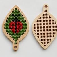 DIY cross stitch wooden coccinella septempunctata