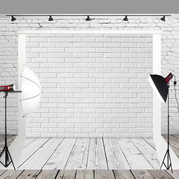 Photography Filming Booth Backdrop White Brick Wall And Wood Background For Photographers Take Pictures Or Wedding Decorations