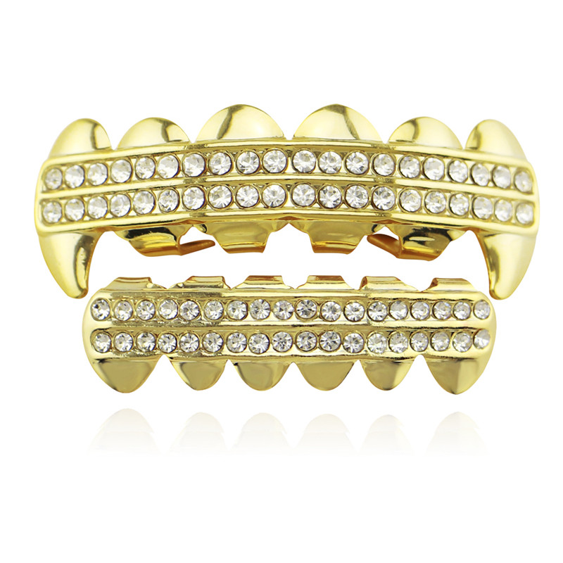 Punk Gold Zähne Grillz 2 Row Iced Out Grills Dental Hip Hop Vampir - Modeschmuck - Foto 1