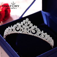 Himstory Full Zircon Leaf Tiara Copper Zircon Tiaras Micro Pave CZ Bride Crown Wedding Diadem Mariage Princess Hair Jewelry
