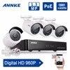 ANNKE 4CH 960P PoE NVR IP Network CCTV Security System 1 3MP POE CCTV IP Camera
