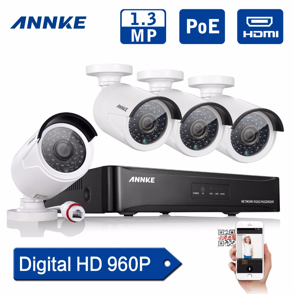 ANNKE 4CH 960P PoE NVR IP Network CCTV Security System 1.3MP POE CCTV IP Camera home Video Surveillance kit Ru stock ...