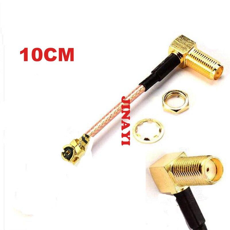 20 pcs 10 cm SMA Ângulo Direito Jack Fêmea para IPX U. fl RG178 IPEX Conector Cabo de Extensão