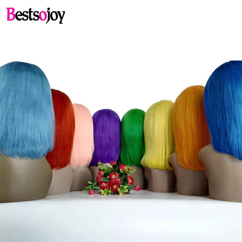 Bestsojoy Bob Wig Short Lace Front Human Hair Wigs For Black Women Remy Brazilian Hair Bob
