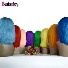 Bestsojoy Bob Wig Short Lace Front Human Hair Wigs For Black Women Remy Brazilian Hair Bob Lace Front Wigs Blue Wig Human Hair