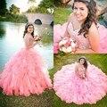 Blush Rosa Vestidos Quinceanera vestido de Baile Espartilho Voltar Tiers Ruffles Princesa Corset Voltar Frisada Cristais Sweet 15 Vestidos