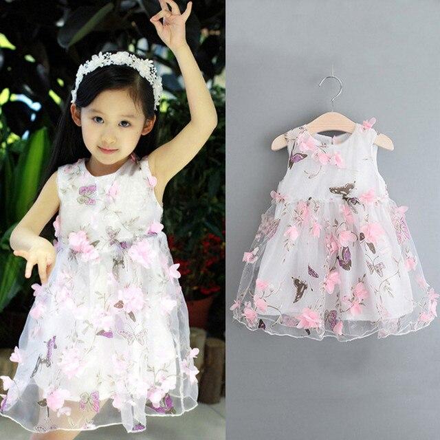Hot Summer Girls Dress Printing Three-Dimensional Petals Baby Dresses Fashion Pleated Dress Leisure Dress Girls Clothes