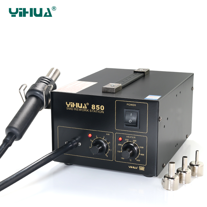 YIHUA 850 3 Nozzles Hot-Air Soldering Station , SMD Rework Station Lead Free With Heat Gun atten 2in1 at8502d lead free soldering station smd rework station hot air gun