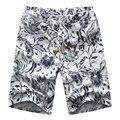 Plus Size 2015 Homens Calções De Praia Homens Verão Shorts de Linho Com Cordão de Impressão Ocasional M-6XL 6 Cores (Tamanho Asiático)