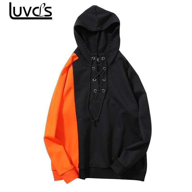 LUVCLS New Fashion Men Hip Hop Hooded Sweatshirts Striped Thick Pullover Mens Hip Hop Casual Sweatshirts Fleece Loose Hoodies