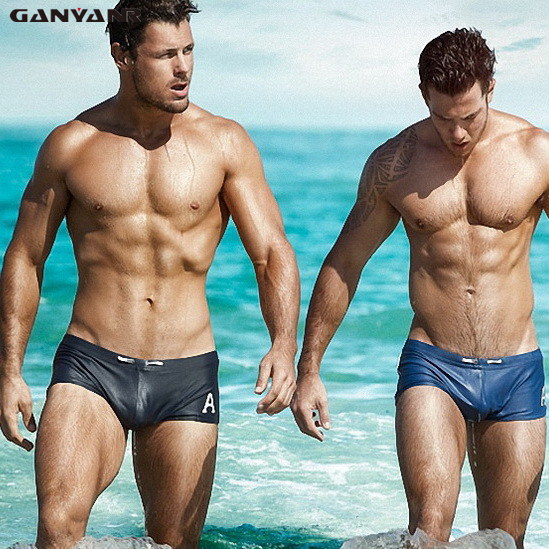 GANYANR Brand Male Swimming Trunks Plus Size Swimwear Men Sexy Swimsuit Gay Swim Shorts Briefs Sunga Bathing Solid Surf Beach