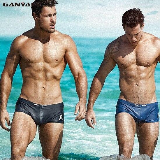 GANYANR marca hombres natación troncos talla grande traje de baño hombres Sexy traje de baño Gay natación Shorts calzoncillos Sunga baño sólido Surf playa