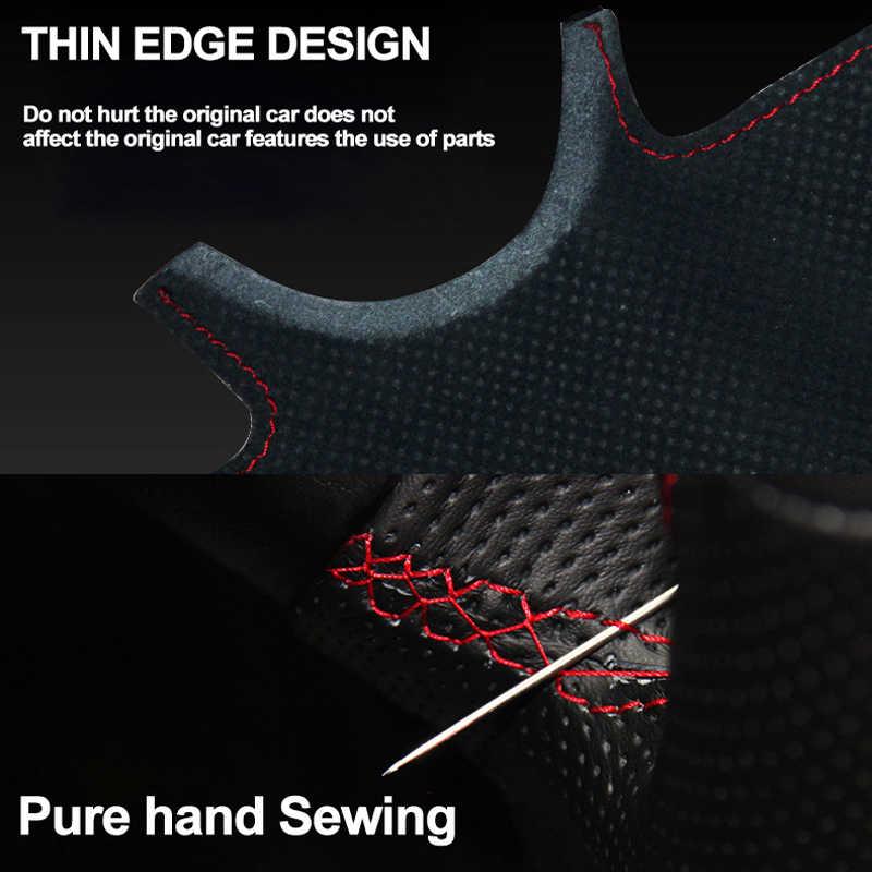 HuiER 手縫製車のステアリングホイールカバー非スリップ車のスタイリングブラックレザーフォードフュージョンモンデオ 2015- 2018 エッジ 2017 2018