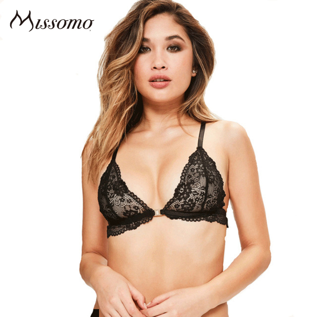 Missomo Women Sexy Solid Color Bra Female Non-adjusted Straps Front Closure Bralettes Lace Up Perspective Underwire Bras