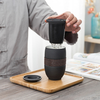 Japanese style tea cup separation tea cup home office travel portable filter ceramic tea cup 285ML