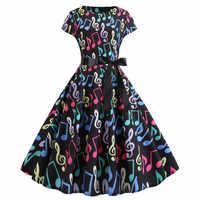 Nouvelle Note de musique imprimer femmes Vintage Robe d'été à manches courtes O cou décontracté Swing rétro robes de soirée Vestido Robe Femme 2019