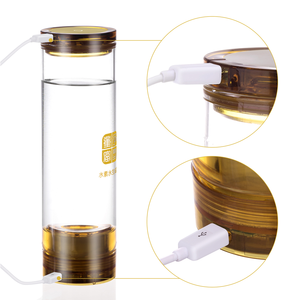 Healthy Anti-Aging Hydrogen Rich Generator Water Ionizer Bottle Seperate H2 and O2 High Pure hydrogen 600ML touch switch cup