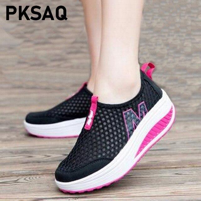 Nữ Giày Sneakers Thời Trang Thể Thao Tăng Chiều Cao Nữ 2019 Thoáng Khí Không Lưới Xoay Nêm Giày