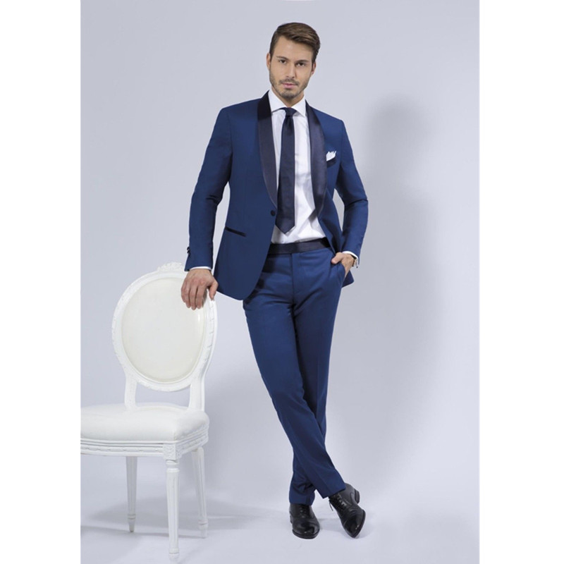 Custom Made Blue Groom Suit Men Slim Fit Tuxedos Wedding Suits Business Suits (jacket + pants ) ...