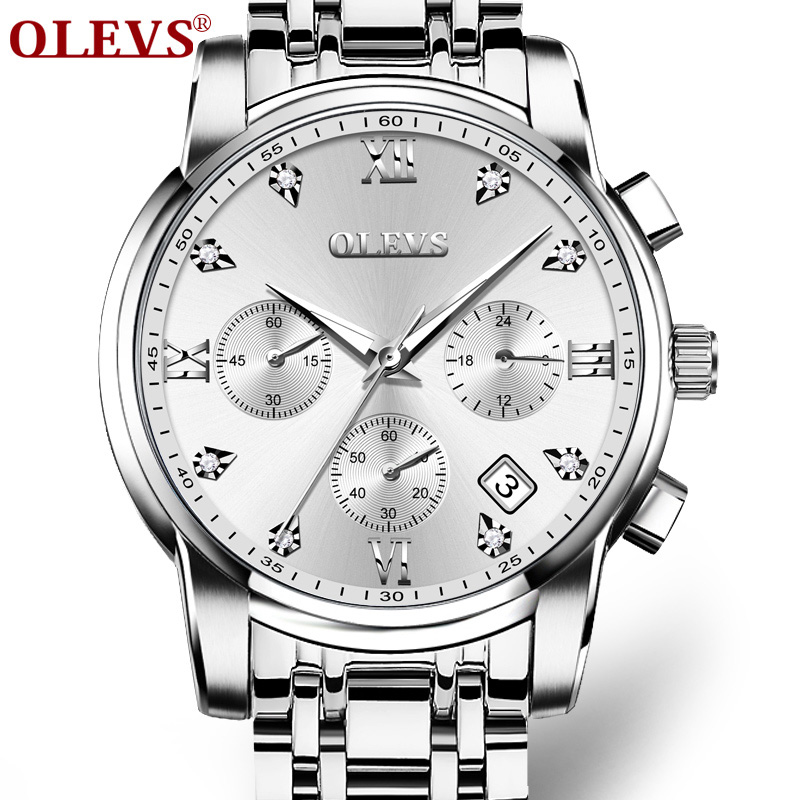OLEVS Luxury Brand Watches Stainless Steel Quartz Watch Men Clock Auto Date Water Resistant Sport Wristwatch erkek kol saati New