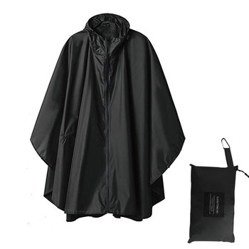 Черный Тренч модный стиль с капюшоном женский мужской унисекс плащ Открытый дождевик пончо непромокаемый дождевик 3 цвета дождевик