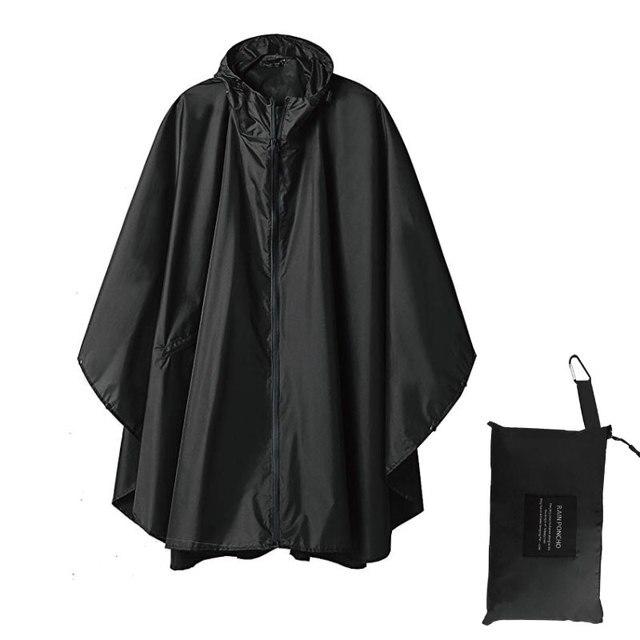 Черный плащ модный стиль с капюшоном для женщин и мужчин унисекс плащ для улицы дождевик водонепроницаемое пончо, дождевик 3 цвета дождевик