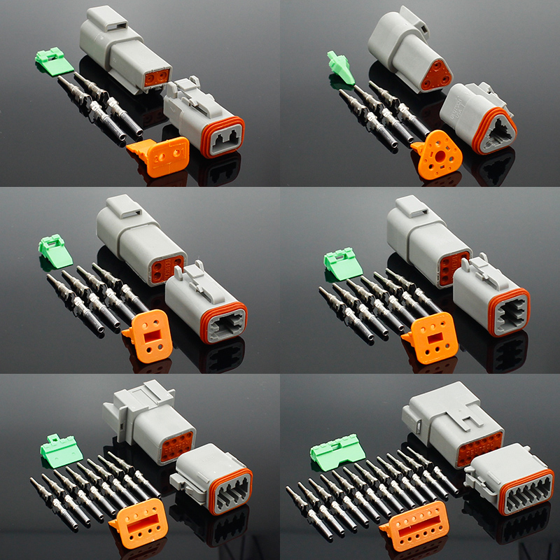 1 Set DT Conector DT06-2S/DT04-2P 2P 3P 4P 6P 8P 12P Waterproof Electrical Connector For Car Motor Truck With Pins