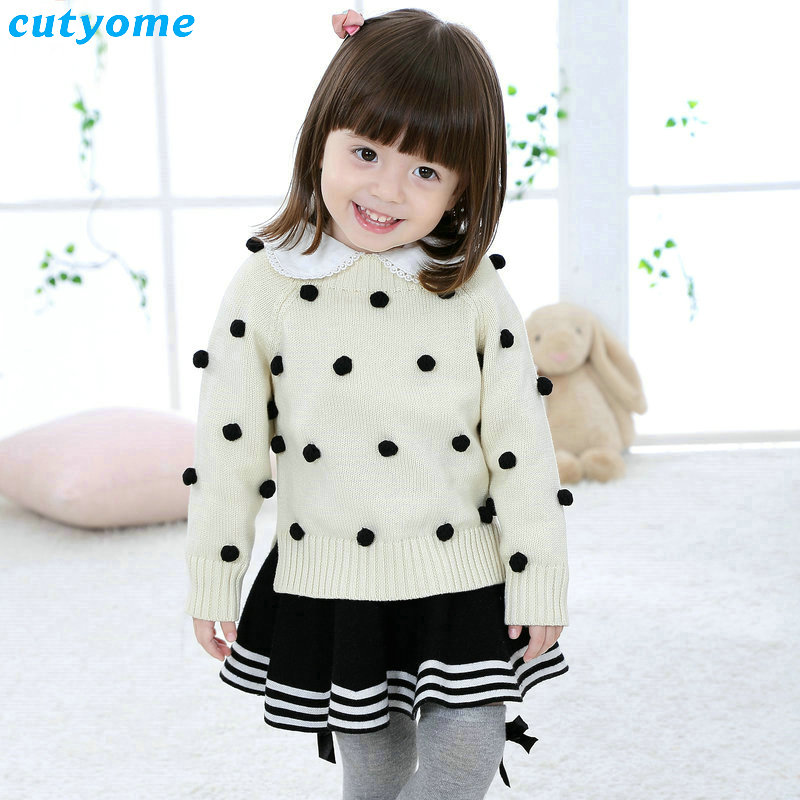 2017 Top Fashion Sale Sweater Kids Sweaters And Cardigan Clothes For Cotton Sweater With Handmade Pom Poms Sleeve Baby Knitwear