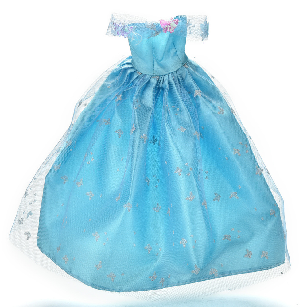Blue Lace Butterfly Wedding Dress for Barbie Multi Layers