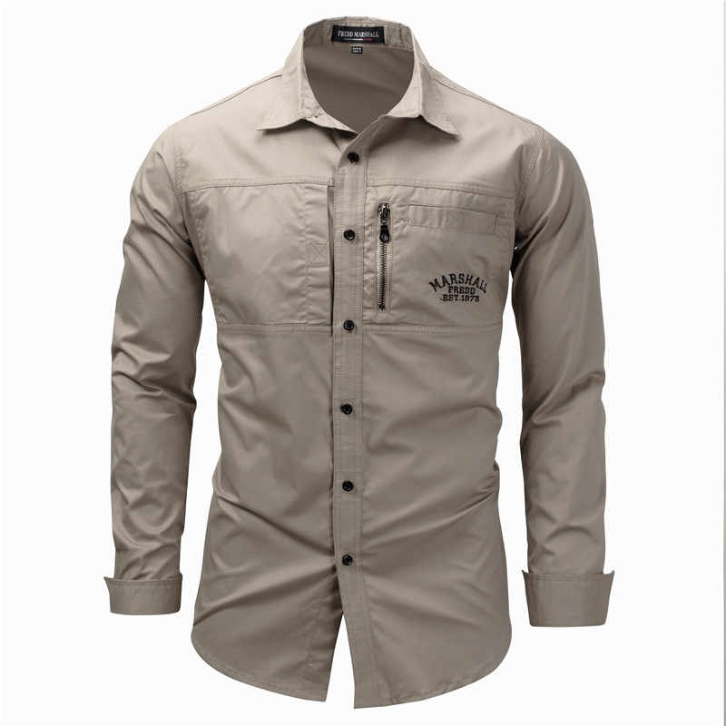 Fredd Marshall Fashion Men's Shirts Cotton Solid Color Long Sleeve Male Shirt with Zipper Pockets Camisa Masculina Plus Size