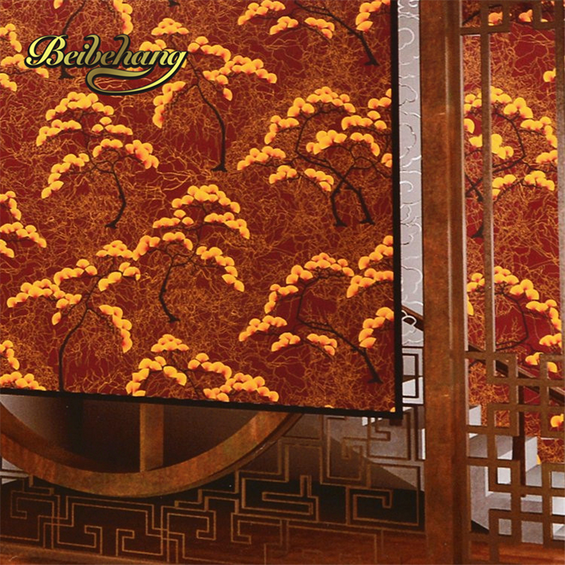 beibehang papel de parede,Chinese gold golden pine floor teahouse chess club room background wallpaper New Reflective waterproof