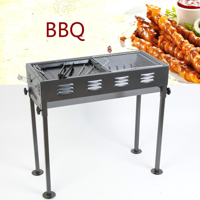 Portable Folding Charcoal BBQ Grill for more than 5 people Outdoor Camping Barbecue Roasting Picnic Family Party Grills