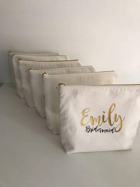 Personalizar nombre texto Título boda novia dama de honor maquillaje regalo cosméticos bolsas de dama de honor