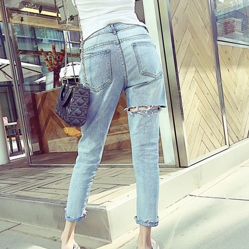 Kobeinc Design Back Hole Ripped Jeans Female Sexy Ankle-Length Denim Trousers for Women High Waist Jean Pants Plus Size Vaqueros fashion high waist jeans ankle length denim pants ripped hole jeans casual summer women jeans denim pants jean new tt1138