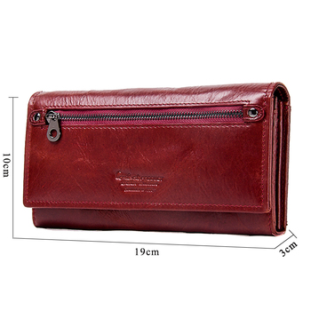 Contact's Genuine Leather Women Long Purse Female Clutches Money Wallets Brand Design Handbag for Cell Phone Card Holder Wallet 2