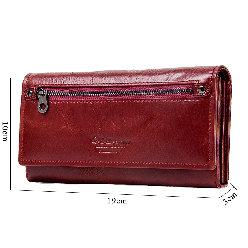 Contact's Genuine Leather Women Long Purse Female Clutches Money Wallets Brand Design Handbag For Cell Phone Card Holder Wallet #2