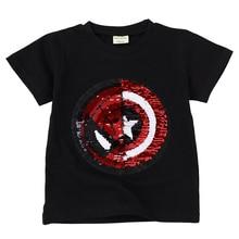 Новая модная летняя футболка с блестками для маленьких мальчиков и девочек; Детские футболки; Повседневная хлопковая одежда для детей; футболки для мальчиков и девочек